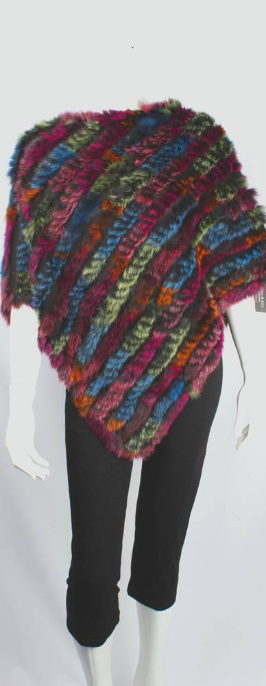 Alice & Lily fur poncho multi pink STYLE: SC/4254 PINKMULTI - SORRY SOLD OUT FOR SEASON