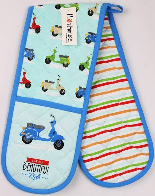Scooter  double oven mitt. 'Life is a beautiful ride' Code: DM-SCOO