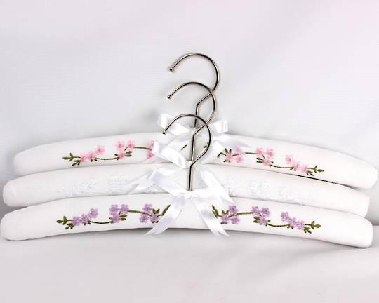 Printed padded coat hangers-set of 3 'Garden' Code:EH-GAR