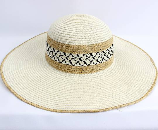 HEAD START  wide brim braided sunhat w nat trim,decorated band  Style: HS/4478IVORY