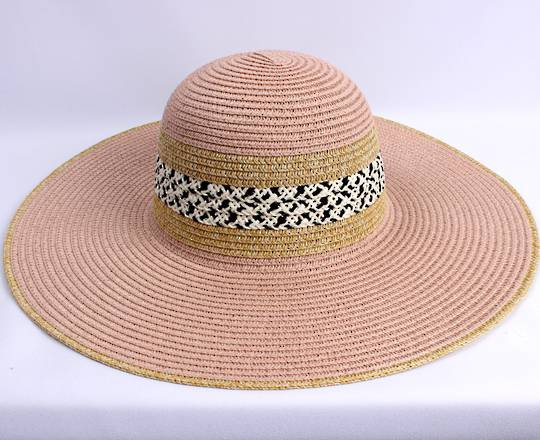 HEAD START  wide brim braided sunhat w nat trim,decorated band  Style: HS/4478PINK