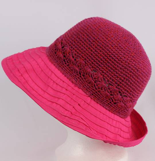 Cotton brim w crocheted crown pink Style : HS/9109