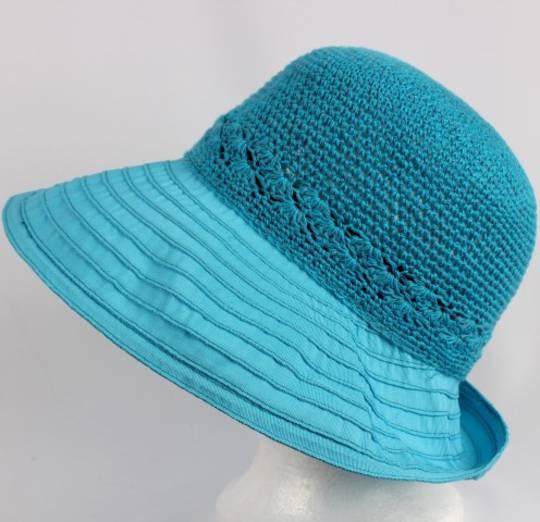 Cotton brim w crocheted crown turq Style : HS/9109