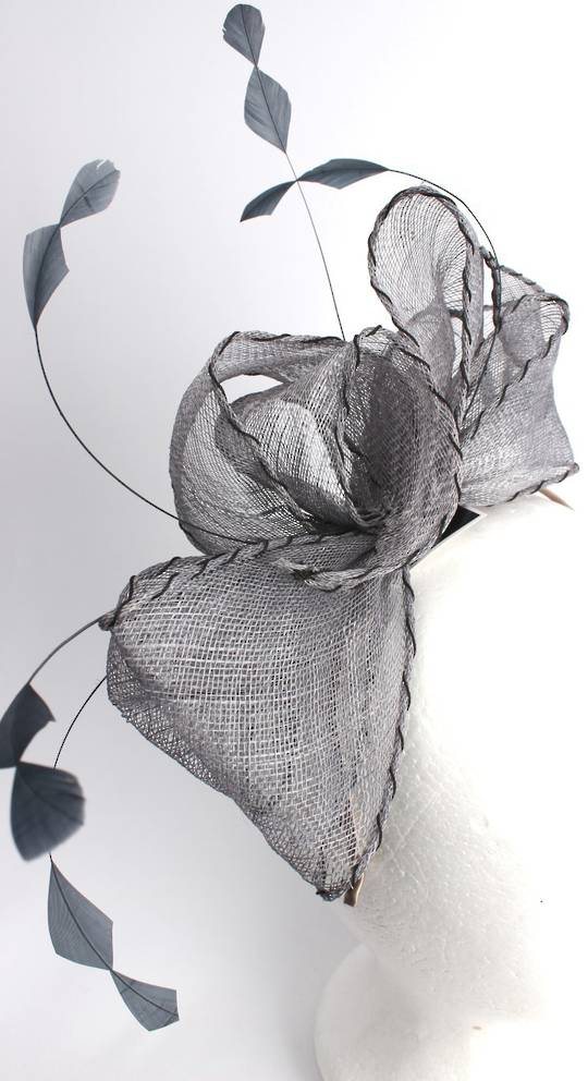Gorgeous fascinator w beautiful  stitched edge sinamay bow grey  Style : HS3013/GRY