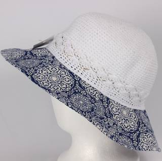 Printed cotton hat white Style:HS/9085