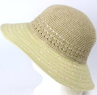 Cotton floral hat light green Style: HS/9082