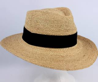 Handmade raffia braid fedora w leather inside band Style: HS/9004