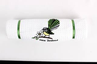 Embroidered pure cotton waffle weave souvenir tea towel 'fantail' Code: T/T-EMB/FAN