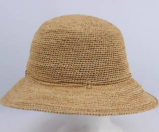 Hand crocheted ladies small brim raffia w self tie Style: HS/9021