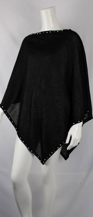 Alice & Lily spring selection plain poncho w beaded trim black Style: SC/4381BLK