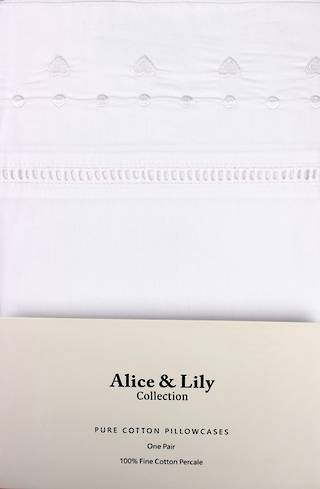 Alice & Lily pure cotton pillowcases one pair PARIS WHITE Code: EPC-PAR/WH