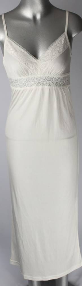 Silk long nightie with lace trim V neck and front Style:AL/SILK/12