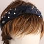 Fashion pearl bead headband navy Style: HS/4668/NVY