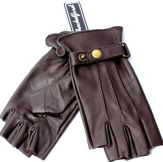 Ladies leather fingerless gloves with dome brown Style: S/LL3291