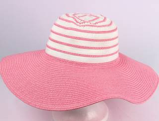 Wide brim 2 tone braid hat pink/white Style: HS/1662