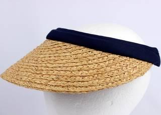 Raffia visor w cotton headbands navy HS/1333