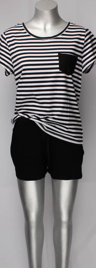 Cotton shortie PJ's blk/white w black shorts Style: AL/ND-109