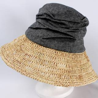 Fabric crown w raffia brim hat black Style: HS/1403