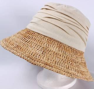 Fabric crown w raffia brim hat natural Style: HS/1403NAT