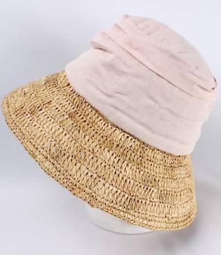 Fabric crown w raffia brim hat pink Style: HS/1403