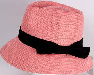 HEAD START Fedora shaped crown black band and bow downturn pink Style: HS/1418/PINK