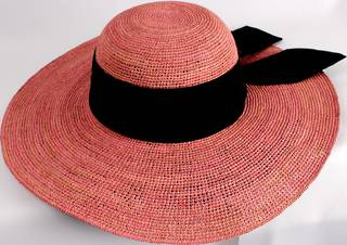 HEAD START classic wide brim  raffia sunhat w wide black band and bow  Style: HS/1424/PINK