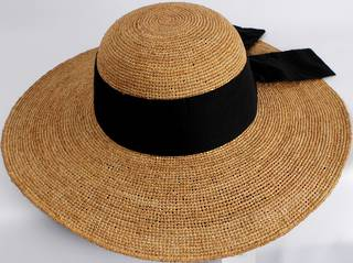 HEAD START classic wide brim  raffia sunhat w wide black band and bow  Style: HS/1424/TAN