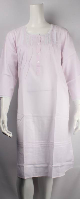Cotton full length winter nightie w long sleeves,button front w pintucks and lace trim pink Style:AL/ND-230/PNK
