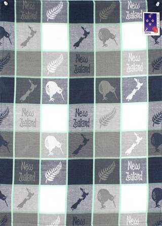 Tea towel map/kiwi grey Code: S770/MK/G