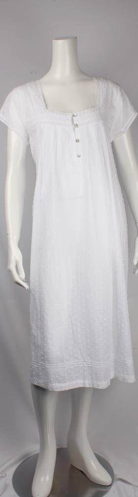 Cotton cap sleeve  nightie. pleated yoke and sleeve with embroidered floral and lace trim swiss dot  Style: AL/ND-242WHT
