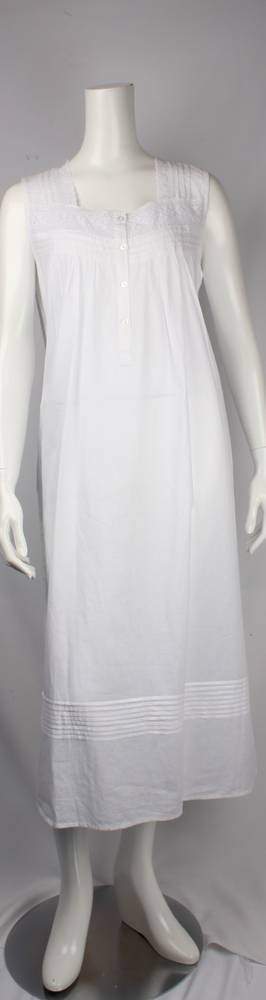 Cotton  sleeveless square neck nightie. lace with tucks  Style: AL/ND252WHT