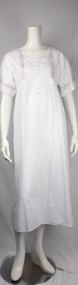 Cotton short sleeve full length nightie. pleated yoke with embroidered floral and lace trim  Style: AL/ND-253WHT