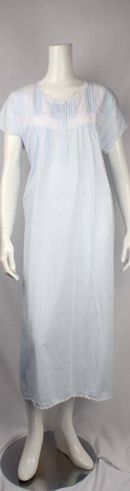 Cotton short sleeve full length nightie. pleated yoke with embroidered  lace trim  Style: AL/ND-254BLU