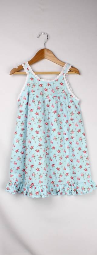 Girls printed  cotton sleeveless nightie w lace trim and ruffle hem Style: AL/ND-266