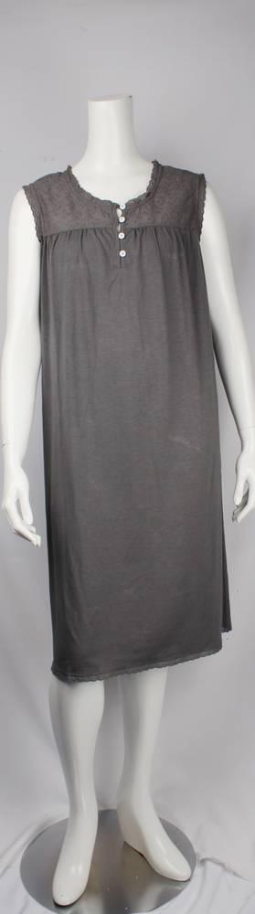 Bamboo Cotton  sleeveless nightie grey,ivory Style: AL/ND-267GREY