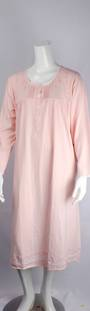 Cotton knit L/S nightie w button neck ,pleats, embroidered floral yoke and hem pink Style:AL/ND-281