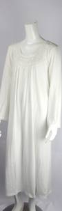 Cotton knit L/S nightie w laced round neck and embroidered floral yoke and lace hem ivory Style:AL/ND-284