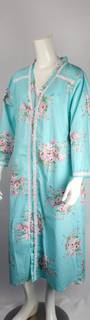 Cotton floral robe w buttons ,lace full length trim blue  Style:AL/ND-289