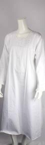 Winter weight cotton L/S nightie woven ribbon and lace  yoke white Style:AL/ND-292