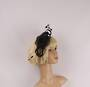 Fascinator w sinamay flower and feathers black Style : HS/3011/BLK