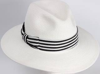 HEAD START White fedora w dashing back and white band Style: HS/3022WHITE