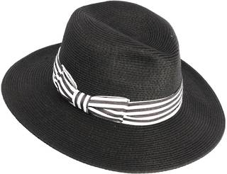 HEAD START Black fedora w dashing back and white band Style: HS/3022/BLACK