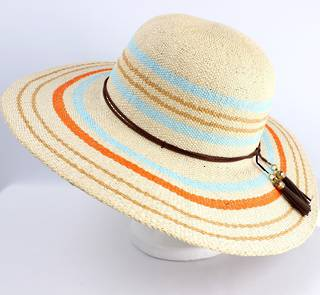 Dome with wide striped brim and band w tassels natural  Style: SC/1402