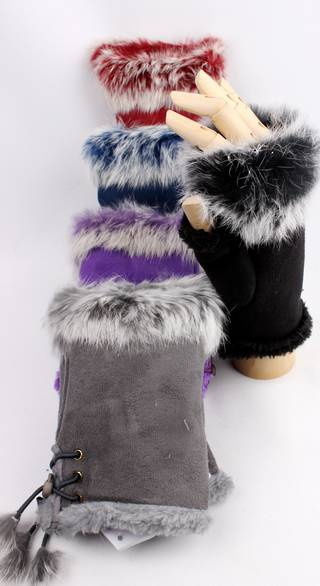 Faux suede and fur trim fingerless glove black Style: S/LK4111