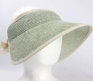Fine braid visor w fabric trim elastic/bow tie Lt green Style:HS/9118
