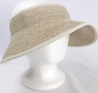 Fine braid visor w fabric trim elastic/bow tie Lt beige Style:HS/9118