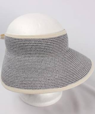 Fine braid visor w fabric trim elastic/bow tie Lt blue Style:HS/9118