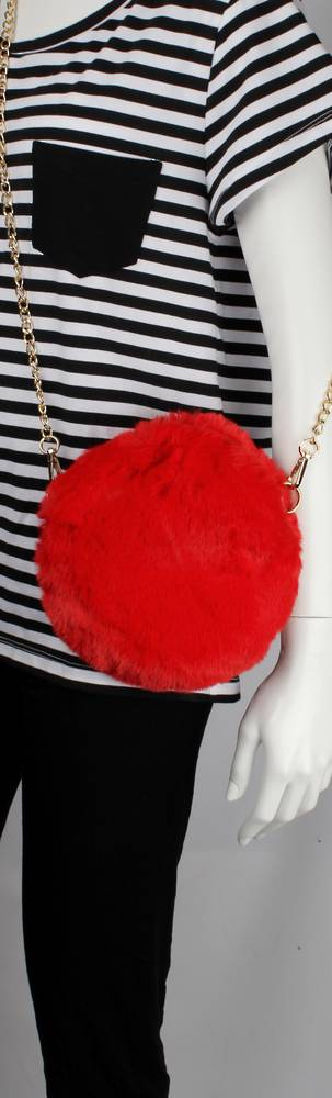 Alice & Lily fur hand bag w gold shoulder chain red STYLE: AL/4413FB/RED