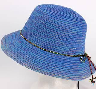 Braid hat with tie trim blue Style: H/4239