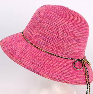 Braid hat with tie trim pink Style: H/4239